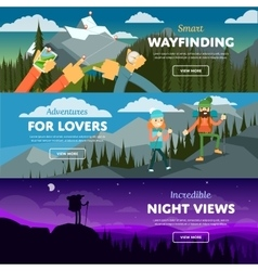 Banners of hiking trekking and andventure vector image