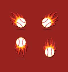 Baseball fire template design vector