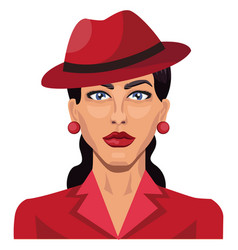 beautiful girl with red hat on white background vector image