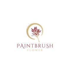 beauty blossom paintbrush flower swoosh logo vector image