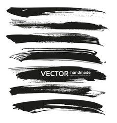 black big long brush strokes set isolated on a vector image