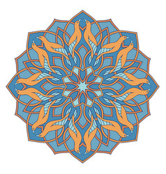 Blue mandala with birds vector