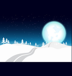 blue moon in winter night vector image