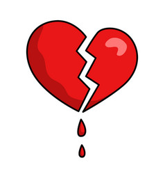 broken damaged heart red icon blood drops vector image
