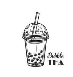 bubble milk tea outline vector image
