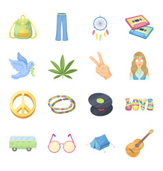 Bus backpack beads and other hippy items hippie vector