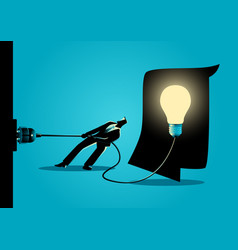 businessman trying to unplug the light bulb brain vector image