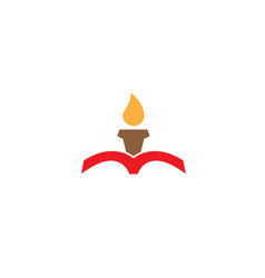 candle inside the book for logo design vector image