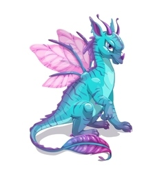 Cartoon blue fantasy dragon vector image