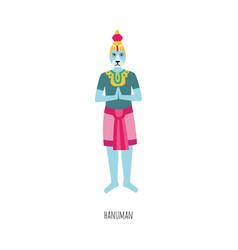 cartoon hanuman - hindu god strength and blue vector image