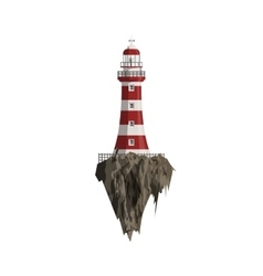 Cartoon red striped Lighthouse on flying Island vector image
