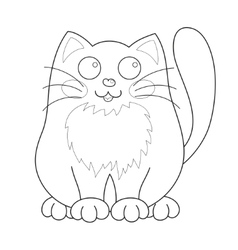 Cartoon smiling gentle kitty sit coloring book vector image