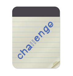 challenge lettering on notebook template vector image