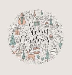christmas circle card vector image