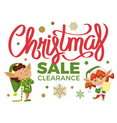 christmas sale and clearance elves with presents vector image