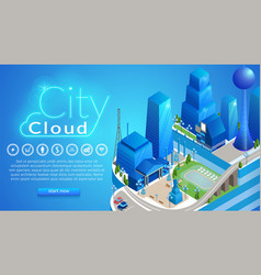 city cloud horizontal banner with copy space vector image