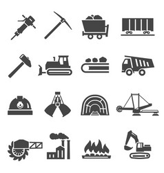 coal industry mine bold black silhouette icons vector image