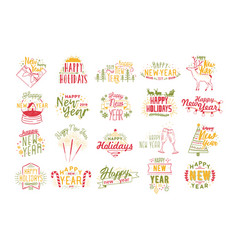 collection happy new 2019 year lettering vector image
