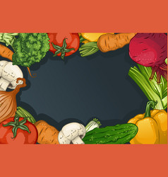 Colorful drawing vegetables template vector