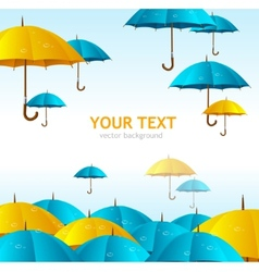 Colorful yellow and blue umbrellas flying vector