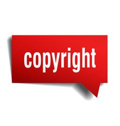 Copyright red 3d speech bubble vector