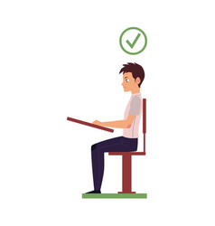 Correct head posture sitting at desk vector