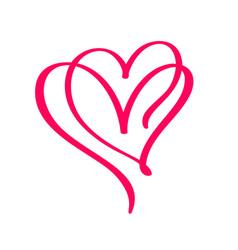 Couple monoline red valentines day hand vector