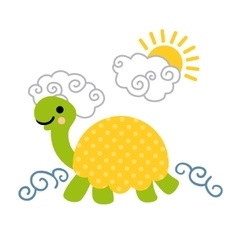 Cute cartoon smiling turtle swimming in the sea vector image