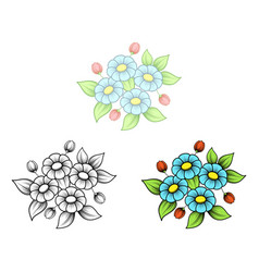 daisy four flowers bouquet vector image
