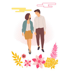 dating couple walking together people and flowers vector image
