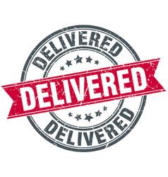 Delivered round grunge ribbon stamp vector