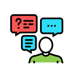 Discussion questions and answers color icon vector