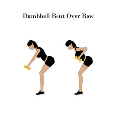 Dumbbell bent over row exercise vector