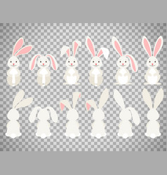 easter cartoon bunny on transparent background vector image