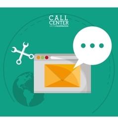 Envelope wrench call center design vector