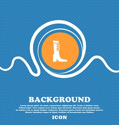 Female fall and winter shoe boot icon sign Blue vector