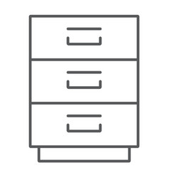 filling cabinet thin line icon office organize vector image