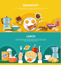 flat breakfast banners set vector image