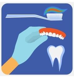 Flat dental instruments set vector