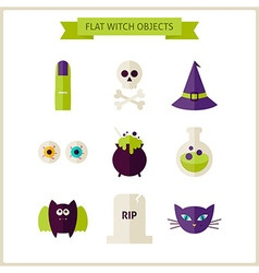 Flat Magic Halloween Witch Objects Set vector