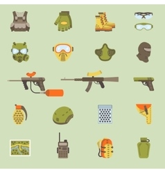 flat paintball or airsoft icon set vector image