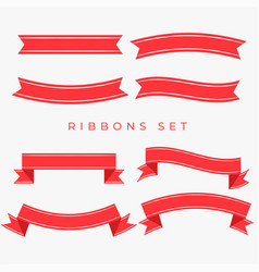 Flat red ribbons decoration set vector