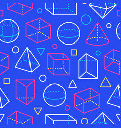 geometric shapes seamless pattern with flat line vector image
