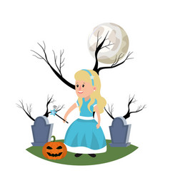Girl with fairy godmother costume and full moon vector