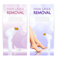 hair laser removal realistic banners vector image