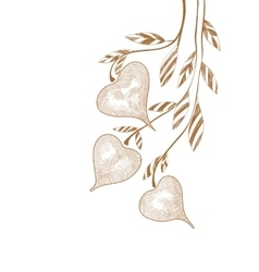 Hand drawing twig with hearts on white vector