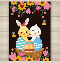happy easter card with little chick and duck vector image