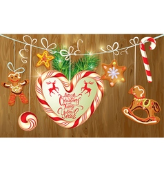 Holiday greeting Card with xmas gingerbread vector image