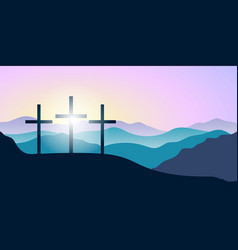 Holy cross silhouettes mountains forest at vector