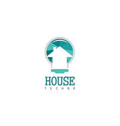 house technology logo vector image